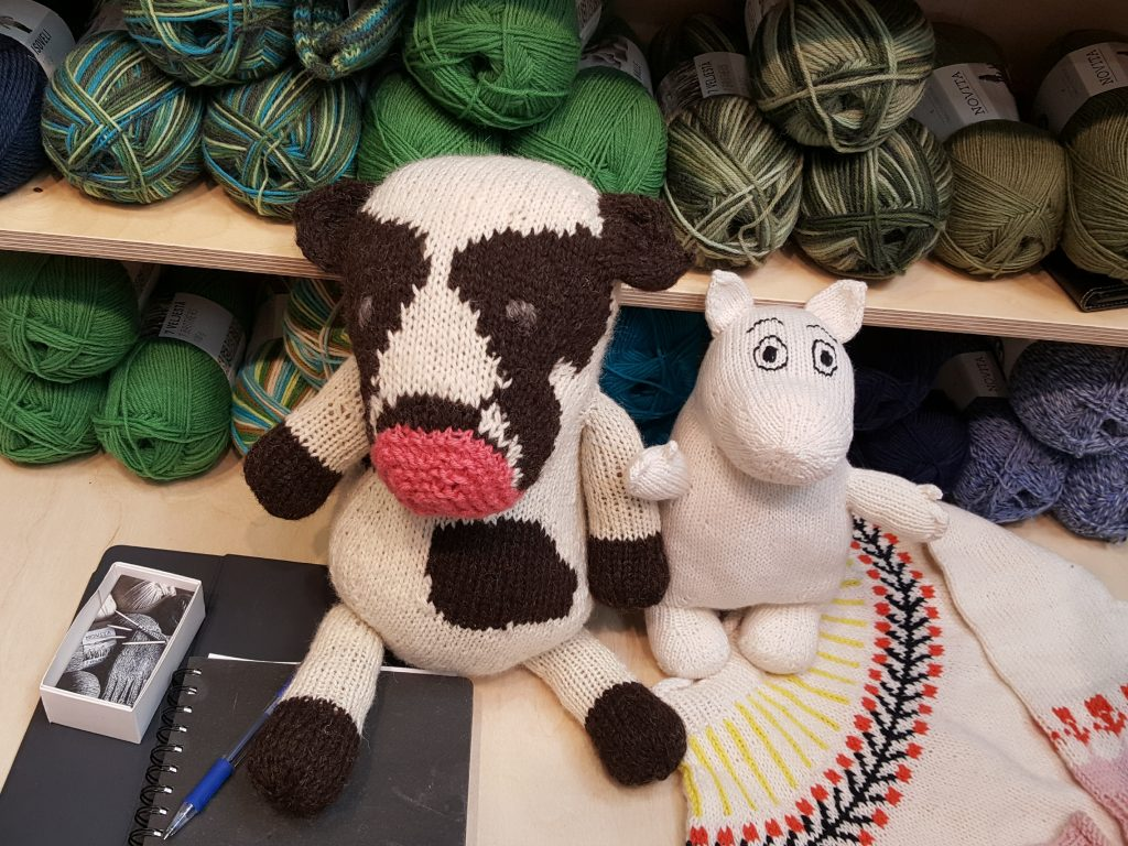 Prudence the prototype cow with a Moomin