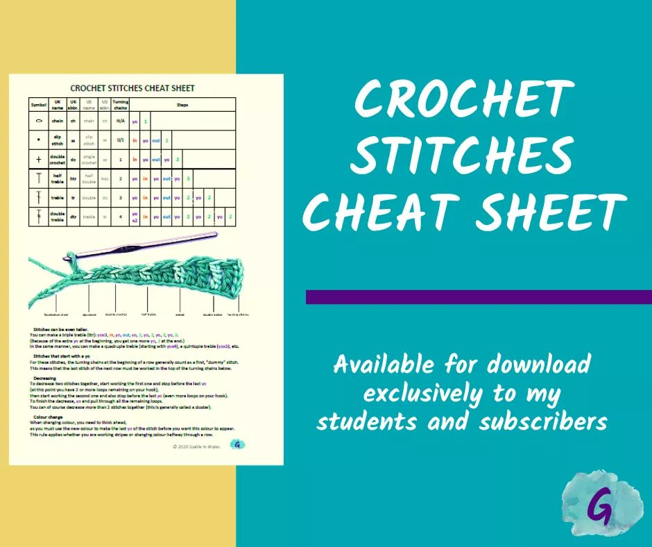 "Screenshot of my Crochet Stitches Cheat Sheet with promo text ""Available for download exclusively to my students and subscribers"""