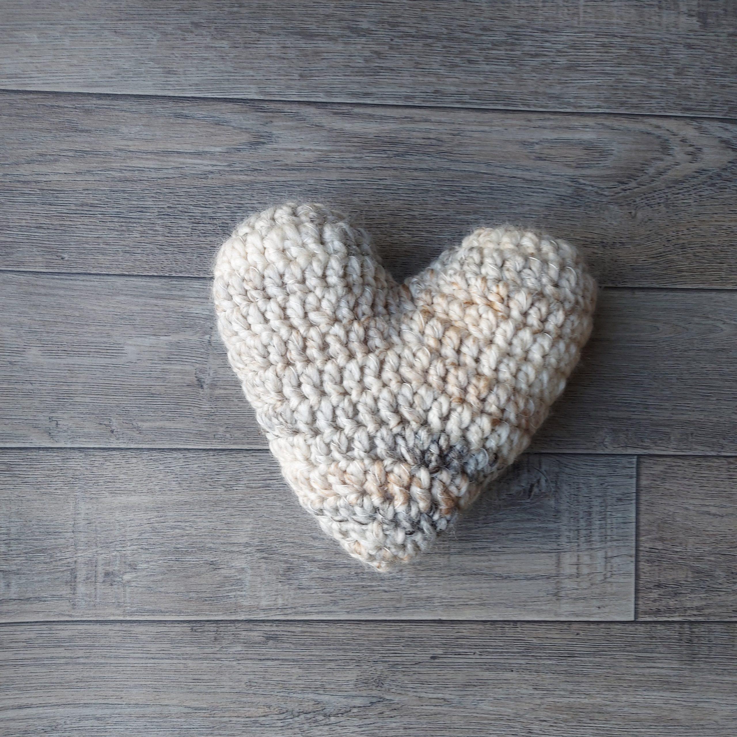 Beige crochet heart